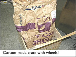 Custom-made crate with wheels!